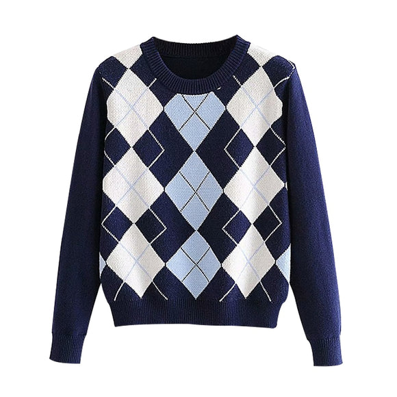 Women sweater pullover 2020 New fashion autumn diamond-shaped lattice women pullover sweater cute British style sweater top