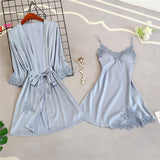 Womens 5PC Strap Top Pants Suit Pajamas Sleepwear Sets Spring Autumn Home Wear Nightwear Kimono Robe Bath Gown M-XL