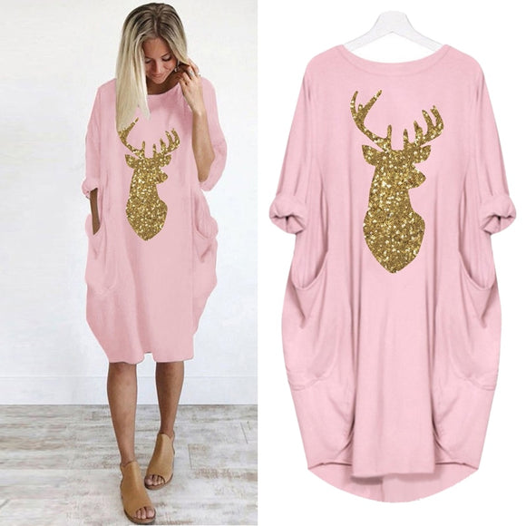 Womens Dress Christmas Moose Sika Deer Party Dress Women Plus Size Vintage Casual Long Sleeve Retro Ladies O-neck Loose Dresses