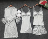 4 Pieces Women Pajamas Sets Satin Sleepwear Silk Nightwear Pyjama Spaghetti Strap Sleep Lounge Pijama with Chest Pads