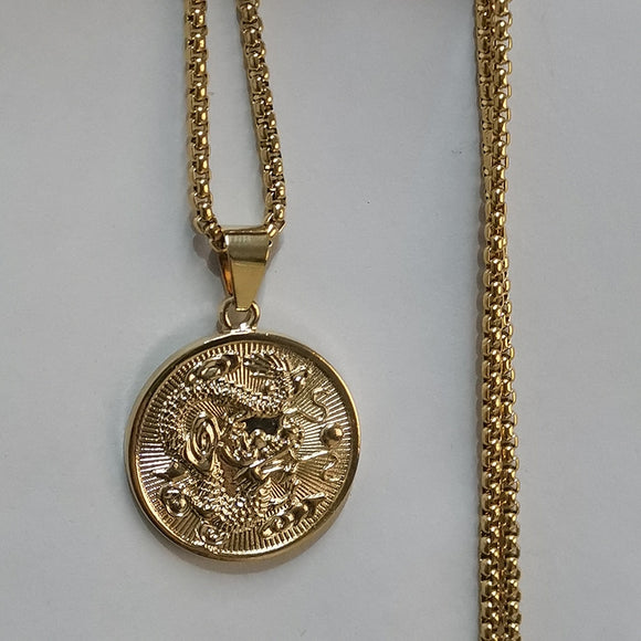 Zodiac Dragon Pendant Necklaces for Women Men Gold Color Jewellery Round Mascot Ornaments Lucky Symbol Gifts XL1675N