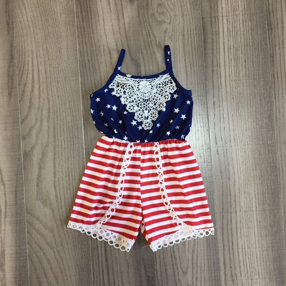 baby girls summer slip romper kids july 4th clothing stars stripe romper