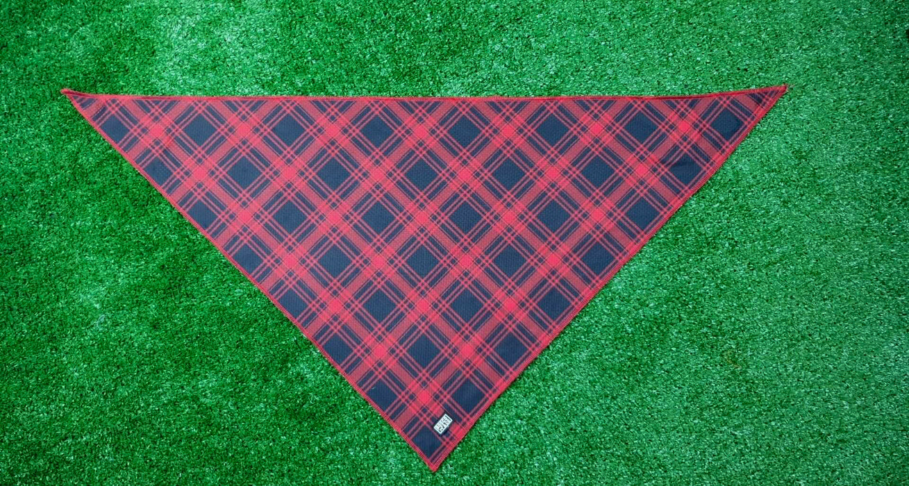 Bosco & Co Cooling Bandana: Black & Red Tartan