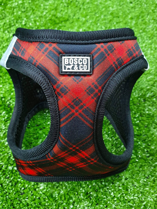 Padded Step In Cat Harness: Black & Red Tartan