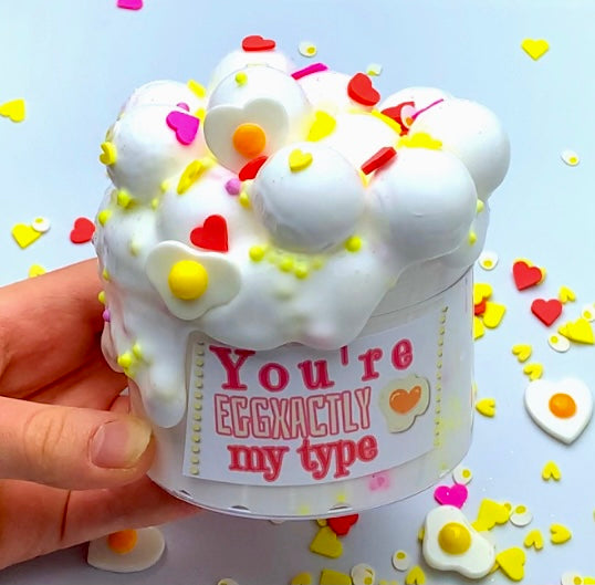 You're EGGxactly my type *big ball floam slime* Valentine's Day slime* satisfying and stress reliever