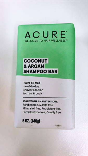 Solid Shampoo Bar Coconut & Argan Oil 'Acure' 140g