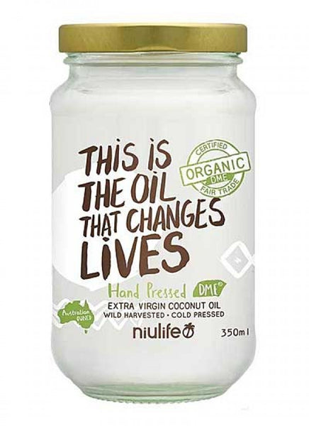 Niulife- Certified Organic Extra Virgin Coconut Oil - 350ml Glass Jar