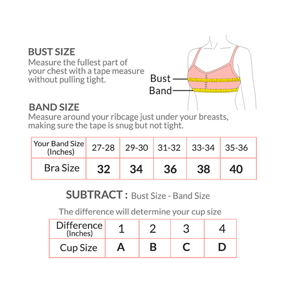 Strapless Sticky Silicon Push Up Bra - InstaGirly Style - Size Chart - instagirlystyle.lk