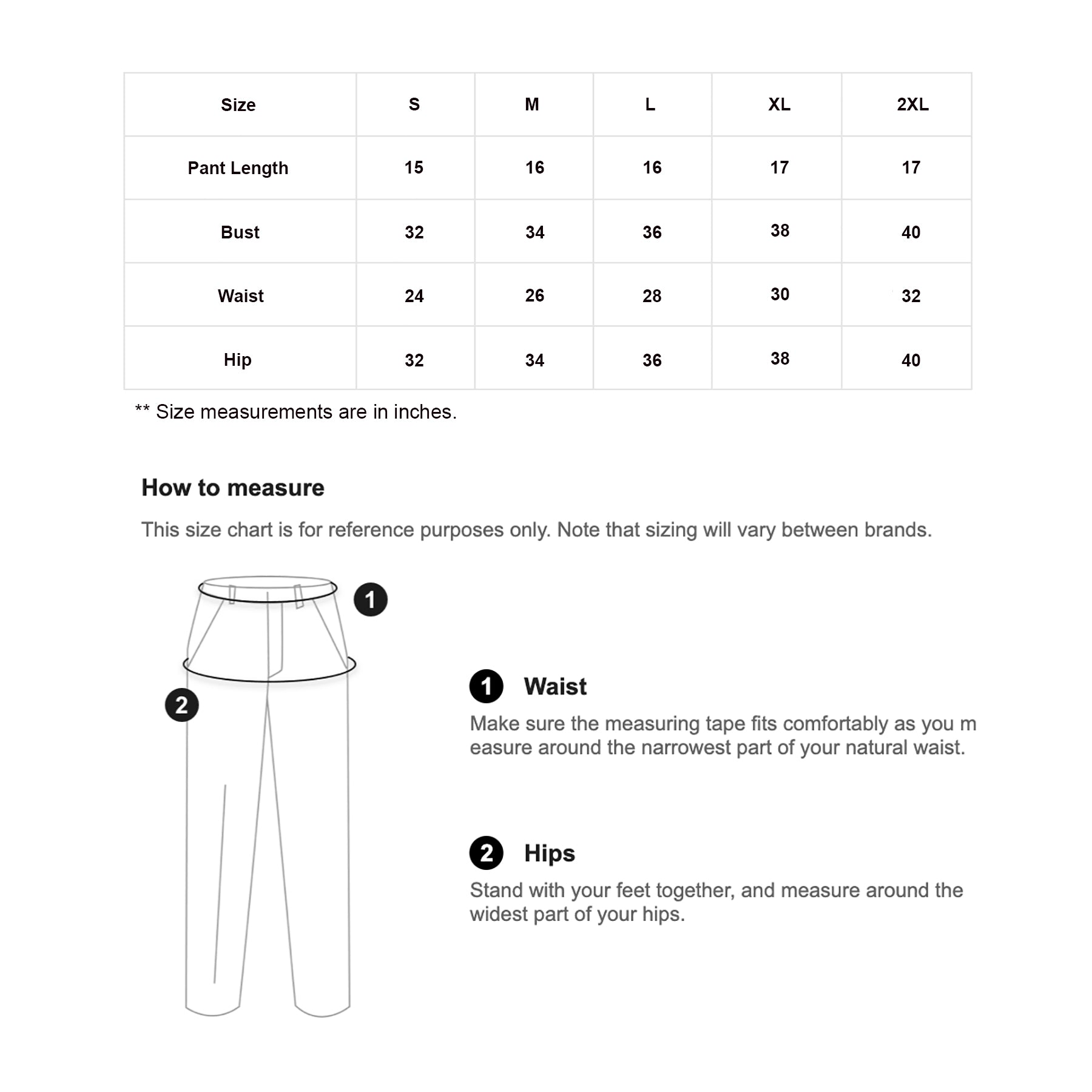 Button Up Pocket Trouser - InstaGirly Style - Size Chart - instagirlystyle.lk