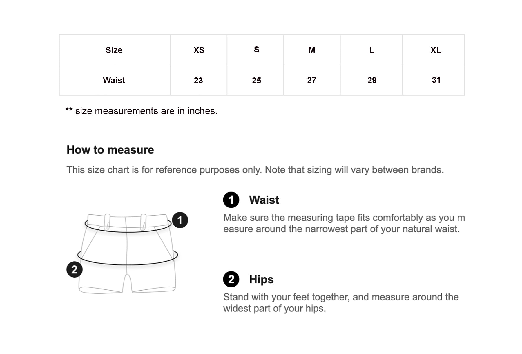 Push Up Padded Underwear - Size Chart - instagirlystyle.lk