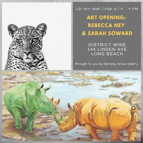 Art Show flyer for Sarah Soward and Rebecca Ney at District Wine with images of a rhino painting and a leopard photograph
