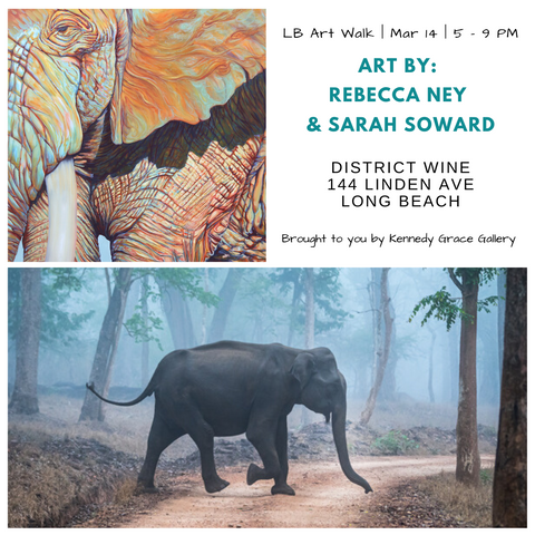 March 2020 art walk flyer for Sarah Soward and Rebecca Ney exhibition, images of elephants