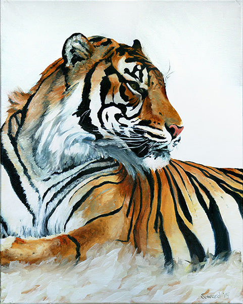 At Rest, Tiger, copyright Sarah Soward, painting of a tiger resting