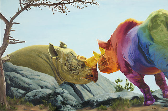 Beloved, copyright Sarah Soward, painting of a rainbow rhino and earth green rhino