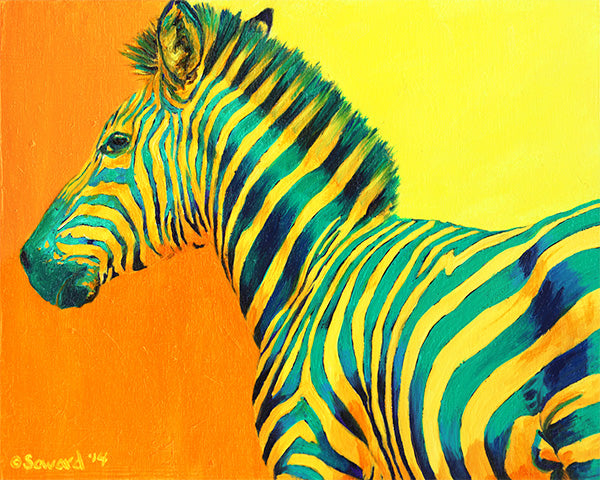 Cantaloupe, copyright Sarah Soward, image of yellow and green zebra on a yellow and orange background.