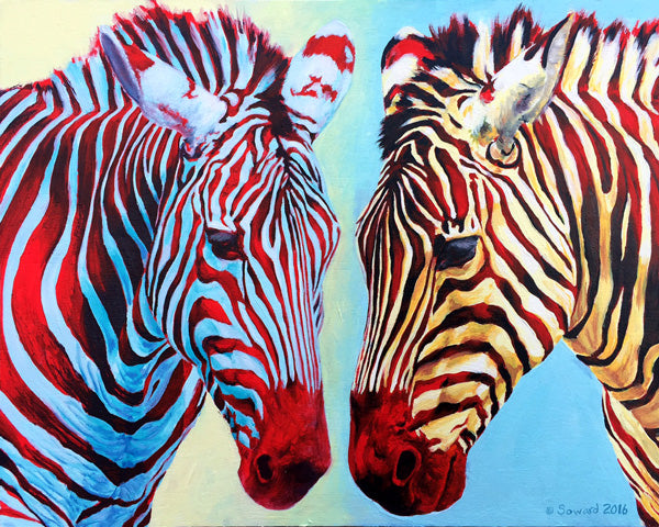 Communal Stripes, copyright Sarah Soward, painting of two zebras with similar red stripes but different body colors