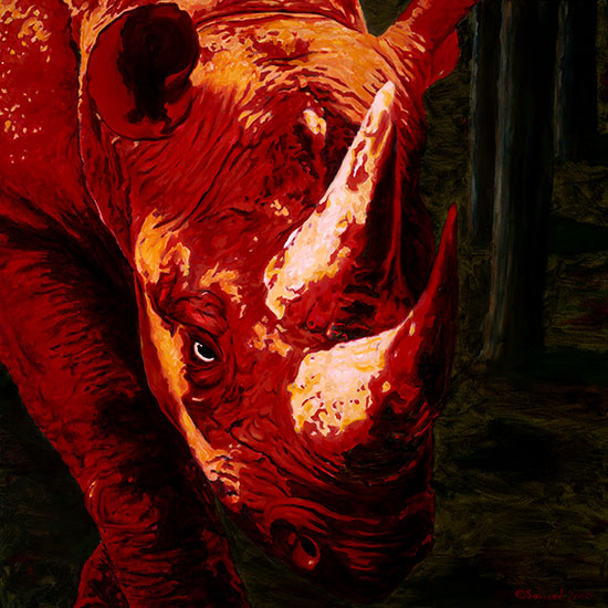 Devil by my Side, copyright Sarah Soward, image of red two horned rhino in a chiaroscuro style