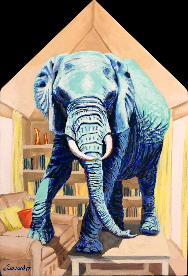 Elephant in the Room, copyright Sarah Soward, image of a turquoise elephant in a house shaped room, standing on furniture.