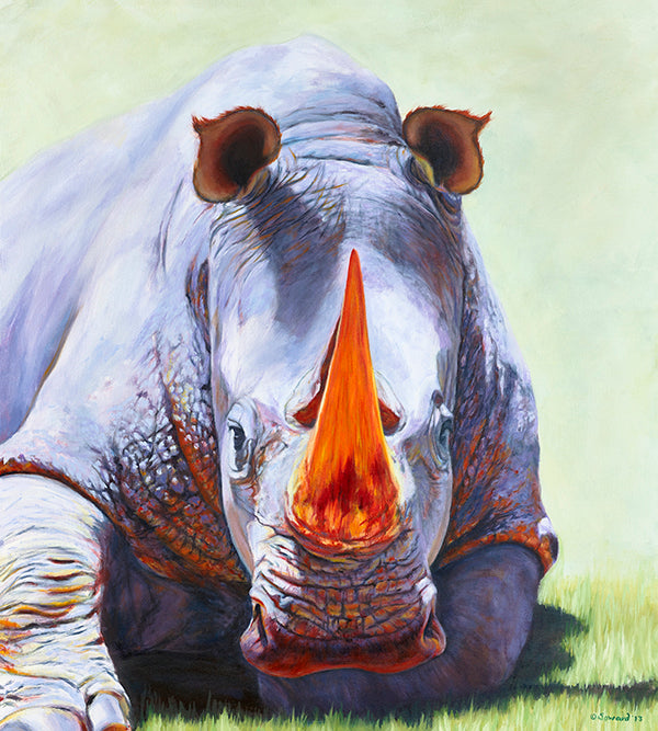 Full Spectrum, copyright Sarah Soward, painting of a lilac rhino complete with ears and a fiery horn