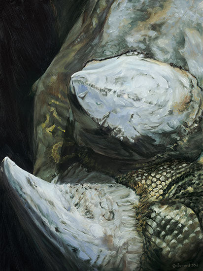 Get Up Outta the Dirt, copyright Sarah Soward, painting of a close up of a two horned rhino with snake skin