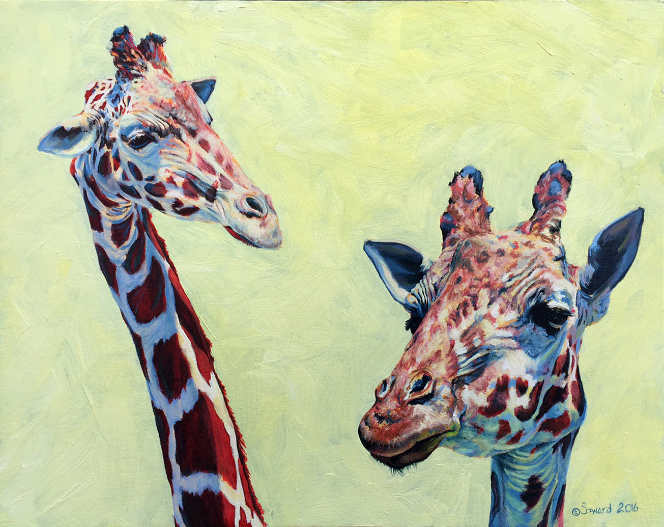 Giraffe-itude, copyright Sarah Soward, painting of two giraffes with attitude on a yellow background