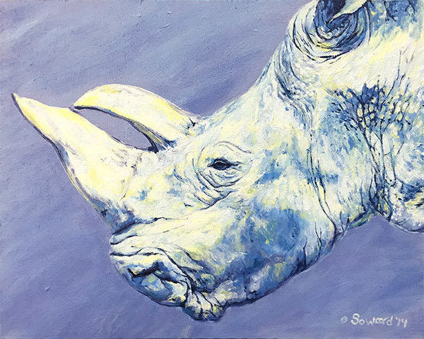 Gracie Rhino, copyright Sarah Soward, painting of an older white rhino on a lavender background