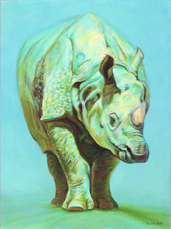 Green Tara, copyright Sarah Soward, painting of a lovely green one horned rhino