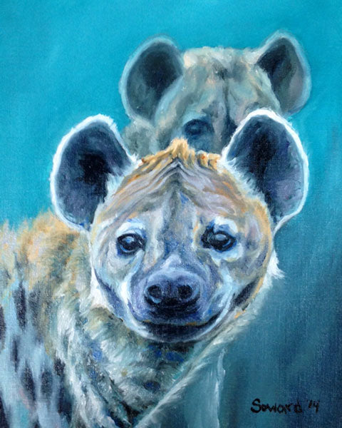 Midnight Mischief, copyright Sarah Soward, painting of two hyenas at night