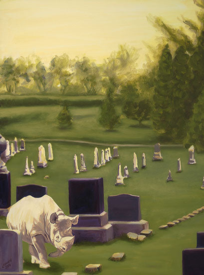 Jane Says, copyright Sarah Soward, painting of a rhino walking in a cemetery.