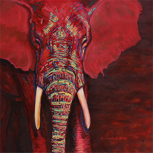 Mars Gradivus, copyright Sarah Soward, painting of a red elephant with colors on its trunk