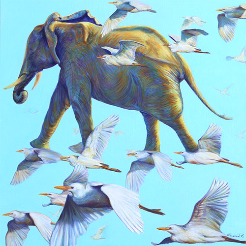 Mercury, copyright Sarah Soward, painting of an elephant traveling through the sky on birds