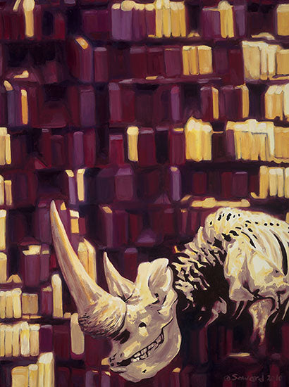 More, copyright Sarah Soward, painting of a skeleton rhino in front of a series of purple and yellow shapes.