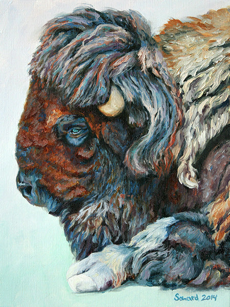 My Buffalo is a Bison, copyright Sarah Soward, painting of a colorful bison