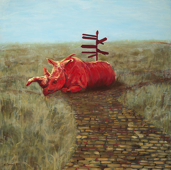 Neckbone, copyright Sarah Soward, painting of a red rhino at a cobblestone crossroads with a signpost