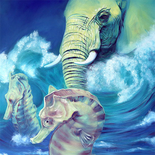 Neptune, copyright Sarah Soward, painting of an elephant as Neptune in the ocean with two seahorses to help him