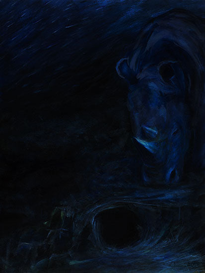 Njosnavelin, copyright Sarah Soward, very dark painting of a rhino at the bottom of deep blue sea