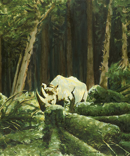 Part of Me, copyright Sarah Soward, image of two horned rhino in a lush and green redwood forest.