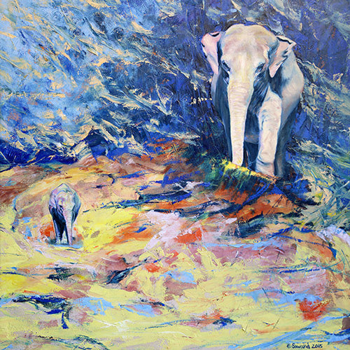 Pluto and Proserpina, copyright Sarah Soward, painting of two elephants with abstract blue and yellow background