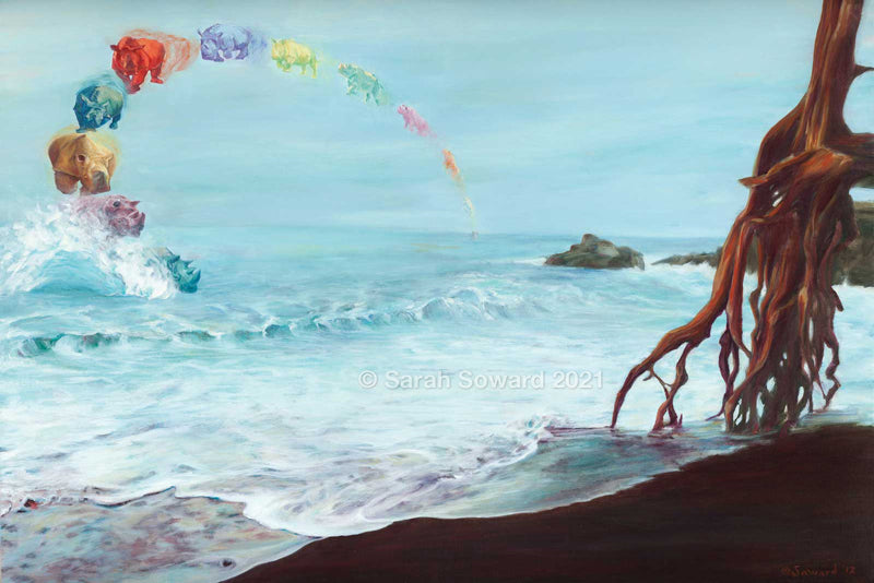 Revolve, copyright Sarah Soward 2021. Painting of a rainbow made of rhinos arcing into the shallow waves of a black sand beach. A tree stands on its roots in the black sand on the right side of the canvas.