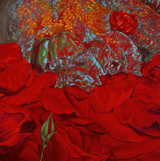 Rhinos Grow, copyright Sarah Soward, image of a one horned rhino hiding in giant roses