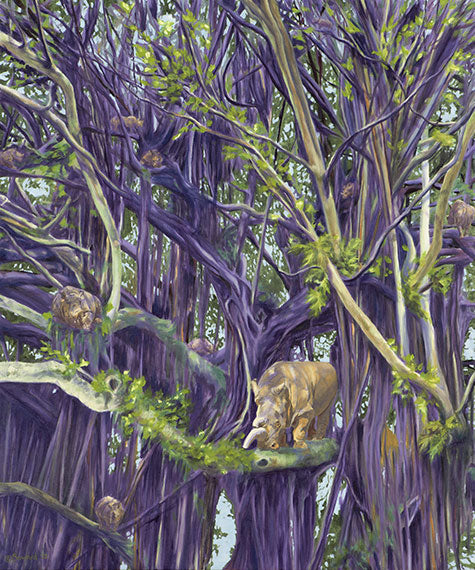 Secluded Spaces, copyright Sarah Soward, painting of many rhinos in a purple banyan tree.