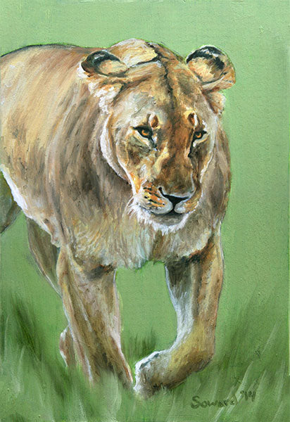 She Prowls, copyright Sarah Soward, painting of a lioness on a green background