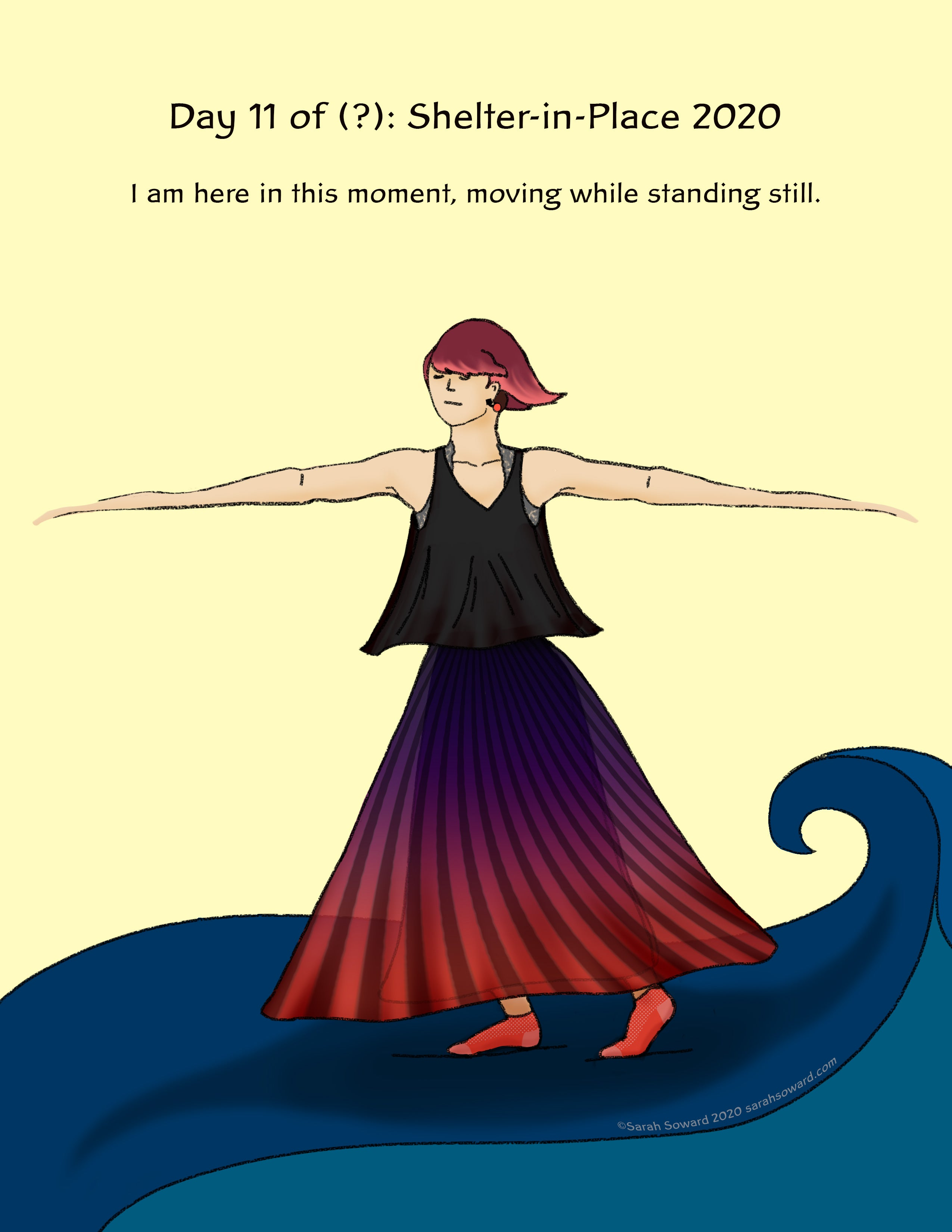 Image of a woman on top of a wave with her arms outstretched. She appears to be spinning. Text on the image reads, I am here in this moment, moving while standing still.