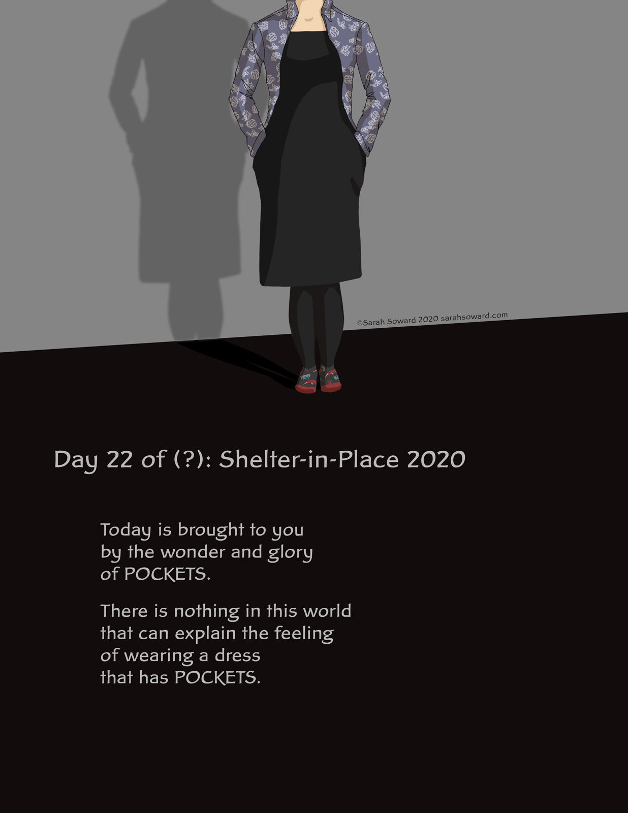 Image of a person wearing a dress with their hands in their pockets. The person's head is cut off so that the viewer can focus on the pockets. the text reads, Today is brought to you by the wonder and glory of POCKETS. There is nothing in this world that can explain the feeling of wearing a dress that has POCKETS.