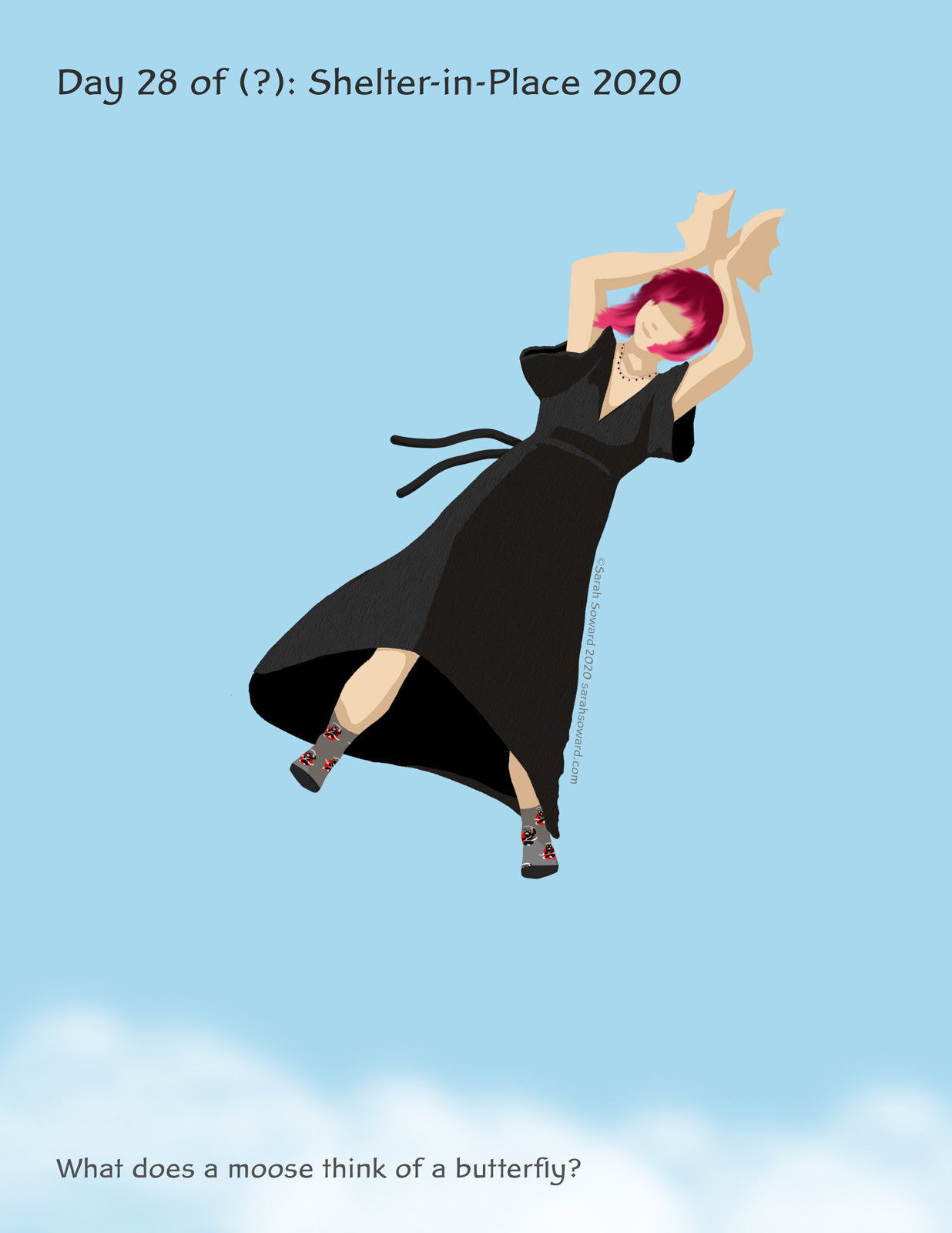 Woman in a black dress with her moose-antler-hands over her head, flying over some happy clouds. The text reads, What does a moose think of a butterfly?