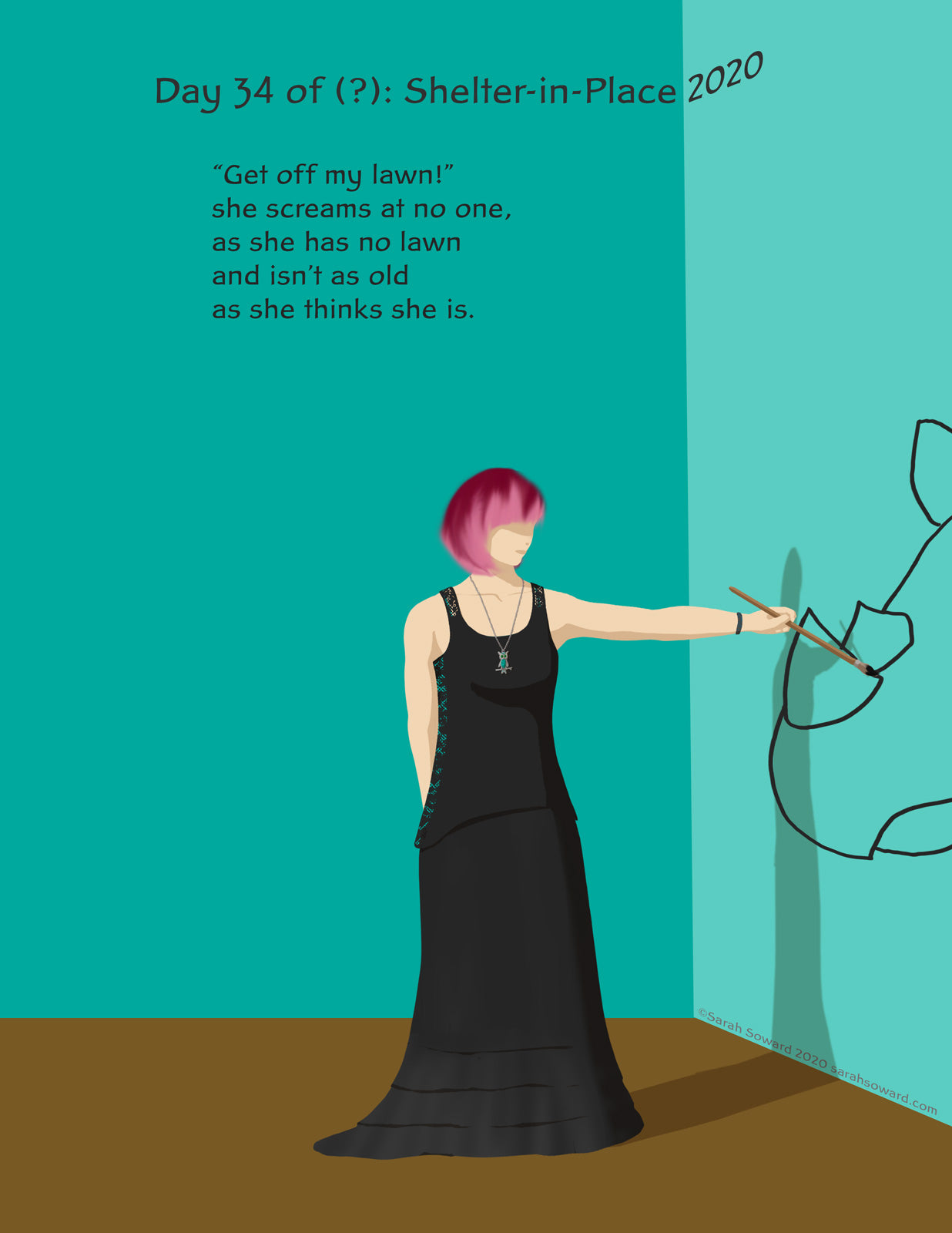 Image of a woman in black painting the outline of a rhino on a wall. The text on the image reads, Get off my lawn!she screams at no one, as she has no lawn and isn't as old as she thinks she is.