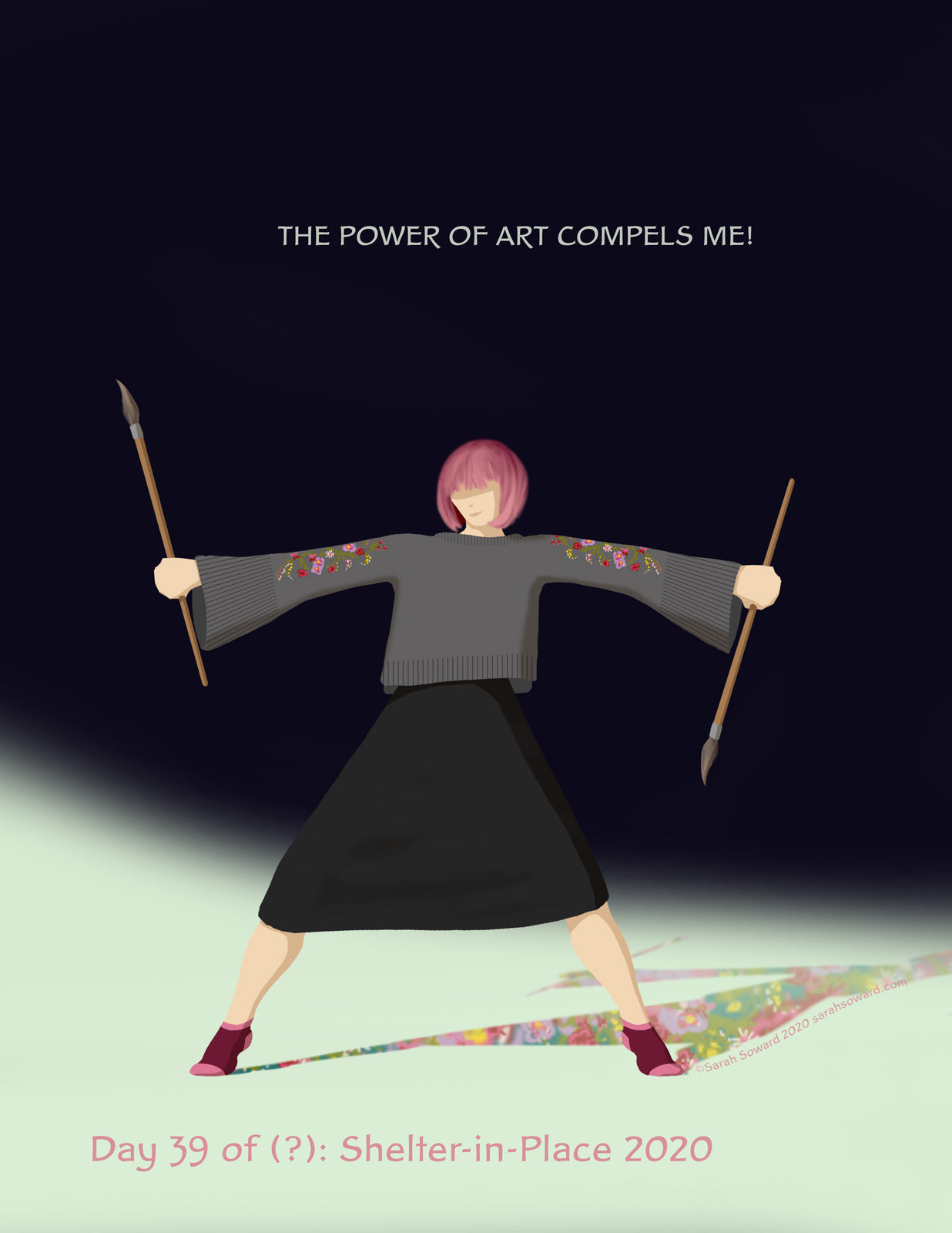 A woman is wearing a grey sweater with flowers on the sleeves. Her shadow has a mishmash of matching flowers in it. She stands wide, brandishing paintbrushes and smiling. The text on the image reads  THE POWER OF ART COMPELS ME!