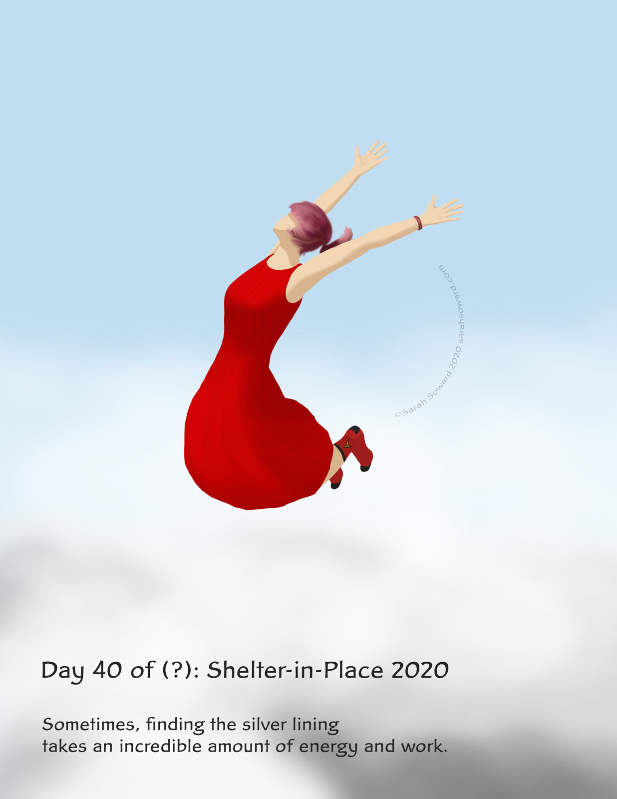 a woman wearing a red dress and star trek socks is leaping above clouds. The text on the image says, The text on the image reads  Sometimes, finding the silver lining  takes an incredible amount of energy and work.