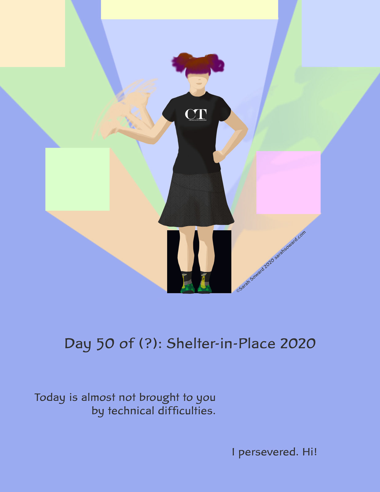 A woman with her hairpin pigtails waves in the middle of geometric shapes that could be a city or a trap or just some blocks of color. It's up to you. The text on the image reads  Today is almost not brought to you by technical difficulties.  I persevered. Hi!