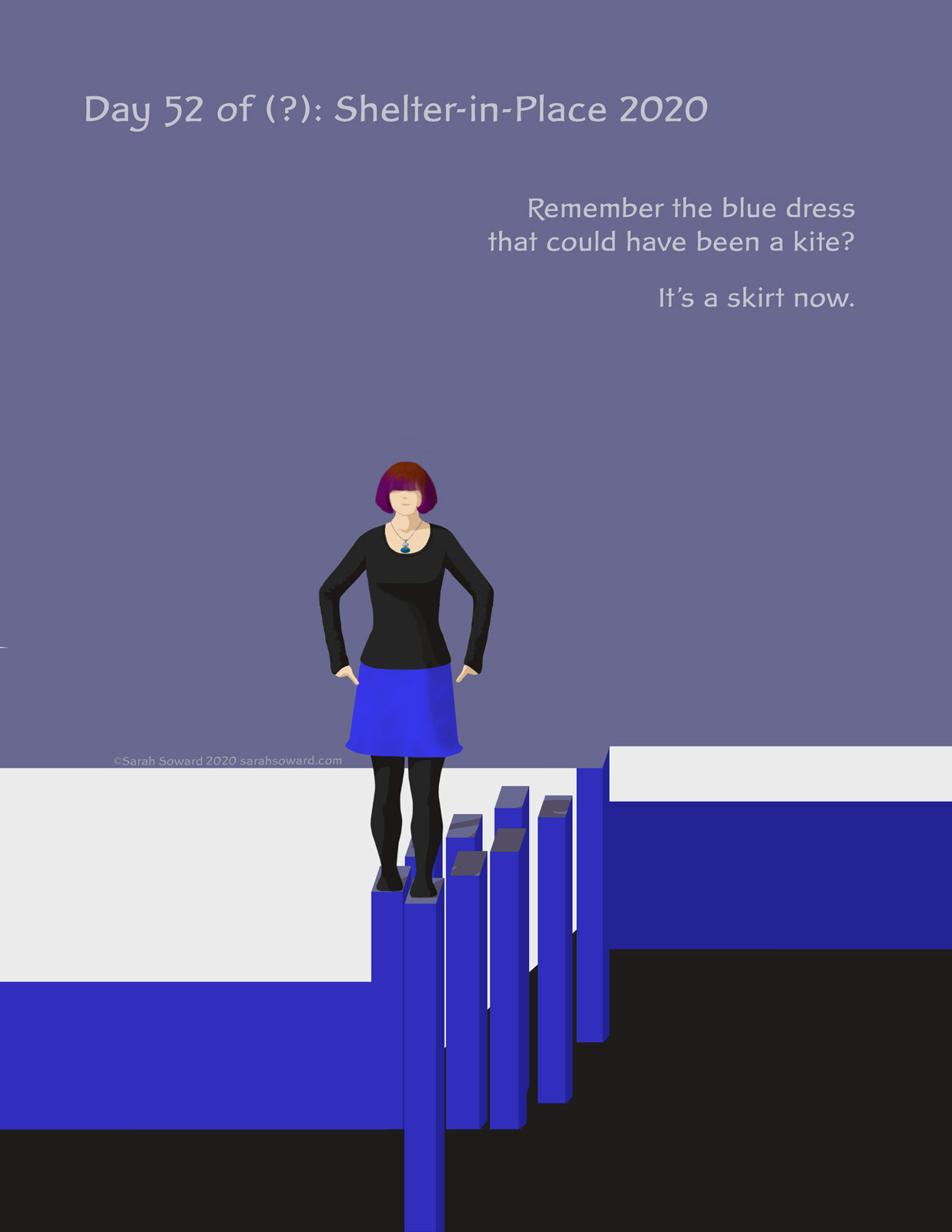 A woman is walking on tall posts above blackness. The posts seem to be joining with a lighter, more solid surface. The text on the image reads  Remember the blue dress that could have been a kite? It's a skirt now.